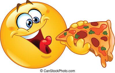 emoticon, consumo pizza
