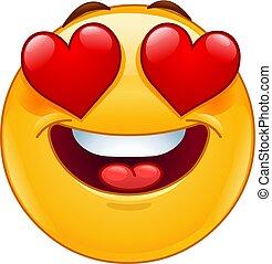 emoticon, cuore, occhi, faccia sorridente