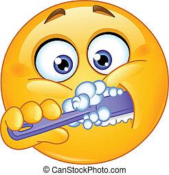 emoticon, denti spazzolatura