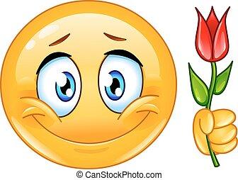 emoticon, fiore