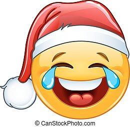 emoticon, gioia, pianto, cappello, santa
