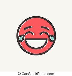 emoticon, magro, gioia, pianto, ridere, linea, icona