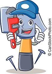 emoticon, martello, idraulico, carattere, cartone animato