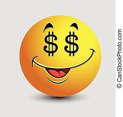 emoticon, occhi, dollaro, avido