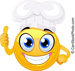 emoticon, ok, smiley, segno, chef, mano, cappello