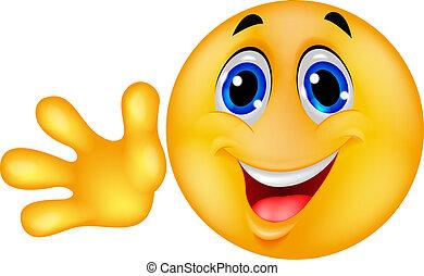 emoticon, ondeggiare, smiley, mano