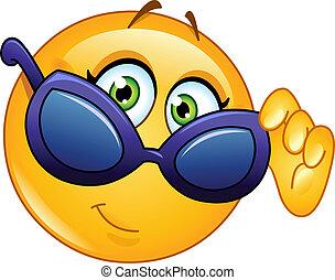 emoticon, osservare, occhiali da sole