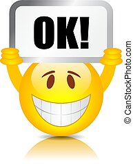 emoticon, segno, felice, ok
