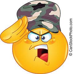 emoticon, soldato, fare il saluto militare