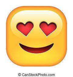 emoticon, sorriso, amore