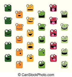 emoticons, set, rana