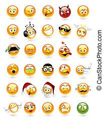 emoticons, set, trenta