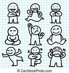 emozione, grafico, paper., blu, cartone animato