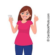 emozioni, segno., donna, stile di vita, appartamento, corpo, selfie, smartphone, style., su, giovane, concetto, vettore, bello, lingua, moderno, illustrazione, presa, pollici, cartone animato, umano, gesturing