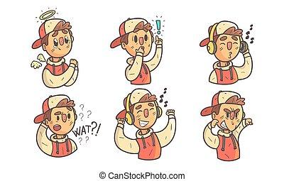 emozioni, vario, differente, illustrazione, cartone animato, esposizione, faccia, ragazzo, divertente, carattere, berretto, maschio, vettore, hoodie, il portare, espressioni, set