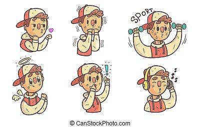 emozioni, vario, differente, illustrazione, ragazzo, esposizione, divertente, cartone animato, carattere, faccia, berretto, maschio, vettore, il portare, espressioni, set