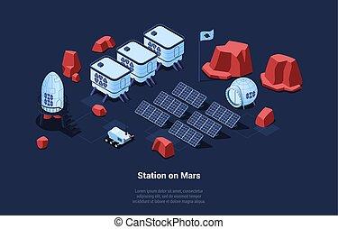 enegry, contenitori, idea., suolo, solare, guadagnare, concettuale, cartone animato, robot, colonizzazione, vettore, pianeti, illustrazione, 3d, style., composizione, isometrico, marte, superficie, batterie, stazione, cosmico