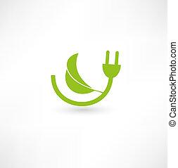 energia, concetto, verde, segno