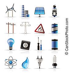 energia, elettricità, potere, icone