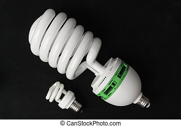 energia, nero, lampadine, piccolo, fondo, grande, risparmio, fluorescente