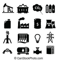 energia, olio, set, icona