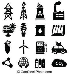 energia, set, icona