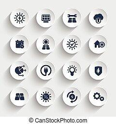 energia solare, set, icone, motorizzato, sole, energetics