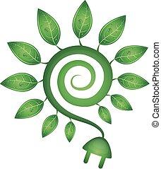 energia, verde, simbolo