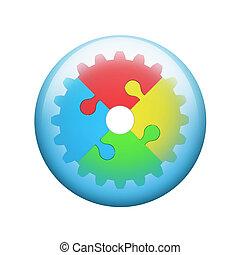 enigmi, jigsaw, ingranaggio, colorito