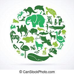 enorme, icone, -, collezione, verde, animale, mondo