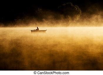 enorme, lago, alba, presto, canottaggio, nebbia, mattina