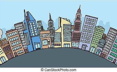 enorme, orizzonte, cartone animato, città
