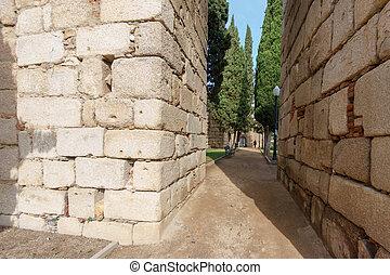 enorme, pietra, merida, parete, corridoio, cittadella