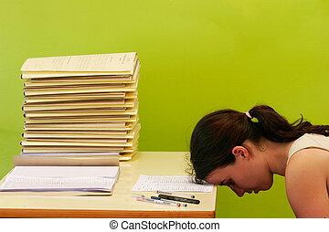 enorme, stress, donna, lei, lavoro, because, scrivania, ha