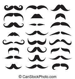enorme, vettore, set, mustache.