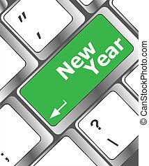 entrare, anno, messaggio, chiave, tastiera, nuovo, felice