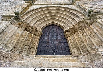 entrata, porta, legno, vendemmia, muro pietra