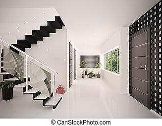 entrata, render, moderno, interno, salone, 3d