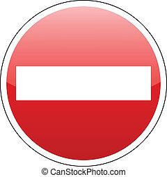 entrata, vettore, no, rosso, segno
