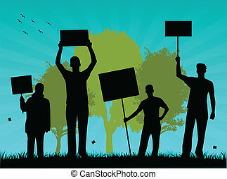 environmentalists, vectors, protest-outdoor, illustrazione