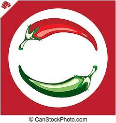eps., caldo, pepper., rosso, vector.
