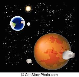 eps10, astratto, illustrazione, luna, marte, satelliti, vettore, sun., fondo, relativo, terra