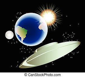 eps10, astratto, illustrazione, luna, vettore, sun., fondo, terra