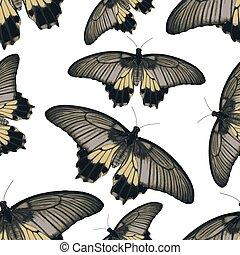 eps10, colorito, semplice, modello, seamless, farfalle, vettore