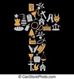 eps10, grande, croce, cristianesimo, simboli, religione