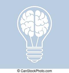 eps10, luce, illustrazione, vettore, brain., bulbo