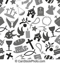 eps10, modello, grayscale, seamless, cristianesimo, simboli, religione