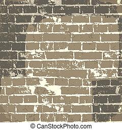 eps10, parete, message., vettore, fondo, grunge, mattone, tuo
