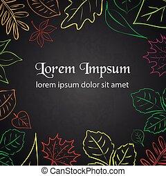 eps10, semplice, testo, colore autunno, foglia, bordo, tuo