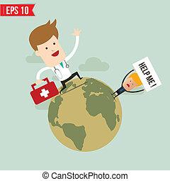 eps10, servizio emergenza, dottore, -, illustrazione, suitecase, vettore, portare
